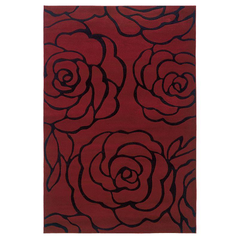 Linon Home Decor Milan Garnet Floral Rug - 1'10'' x 2'10''