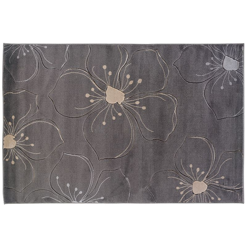 Linon Home Decor Milan Gray Floral Rug - 5' x 7'7''