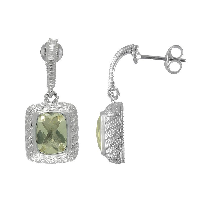 SIRI USA by TJM Sterling Silver Lemon Quartz and Cubic Zirconia Textured Rectangle Frame Drop Earrings