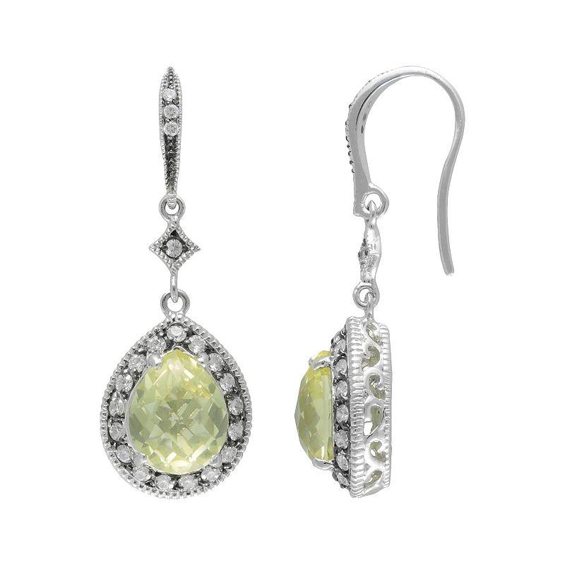 SIRI USA by TJM Sterling Silver Lemon Quartz and Cubic Zirconia Teardrop Earrings