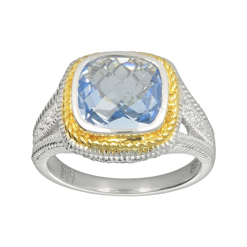 SIRI USA by TJM 14k Gold Over Silver and Sterling Silver Simulated Blue Quartz and Cubic Zirconia Square Frame Ring