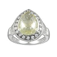 SIRI USA by TJM Sterling Silver Lemon Quartz & Cubic Zirconia Teardrop Frame Ring