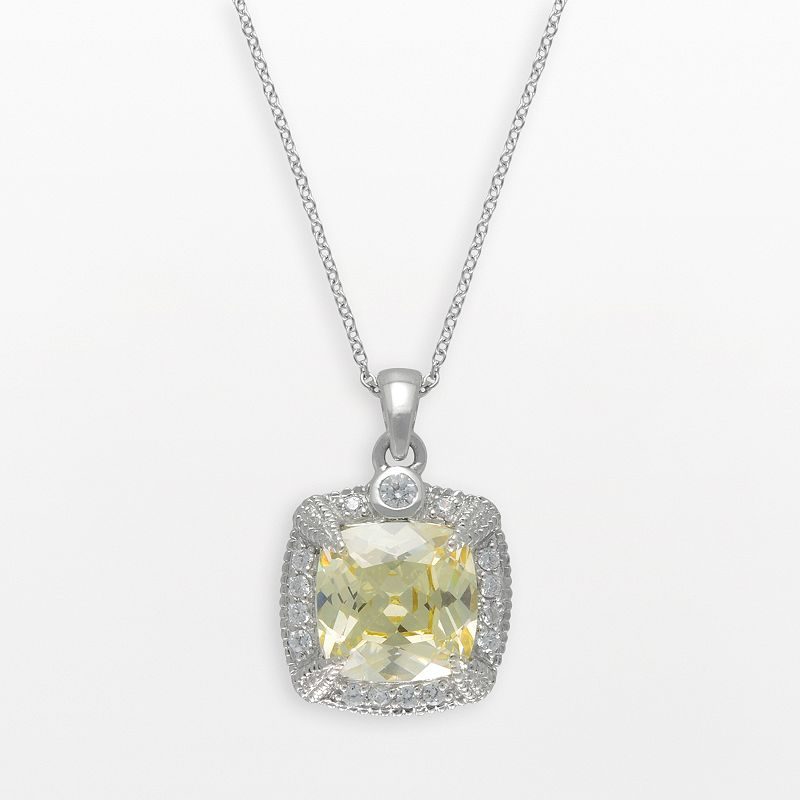 SIRI USA by TJM Sterling Silver Canary and White Cubic Zirconia Square Frame Pendant