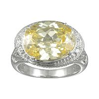 SIRI USA by TJM Sterling Silver Canary & White Cubic Zirconia Oval Frame Ring
