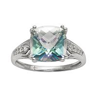 10k White Gold 1/10-ct. T.W. Diamond & Cassiopeia Topaz Ring