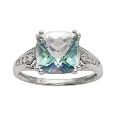 10k White Gold 1/10-ct. T.W. Diamond & Cassiopeia Topaz Ring by