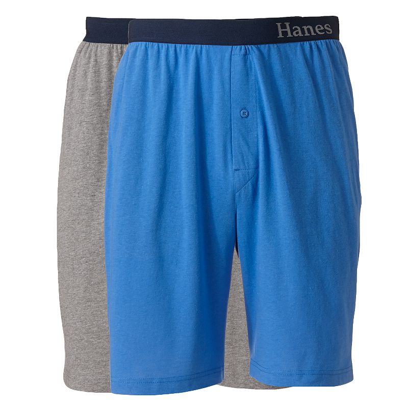 Big & Tall Hanes 2-pk. Striped and Solid Knit Lounge Shorts
