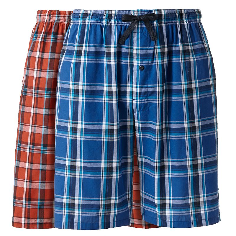 Big & Tall Hanes Classics 2-pack Plaid Woven Jams Shorts