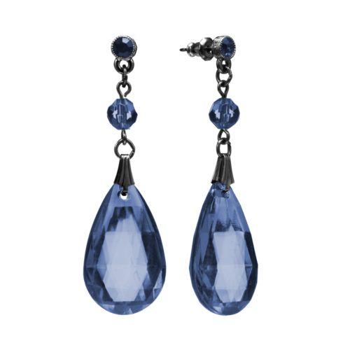 1928 Simulated Crystal and Bead Teardrop Earrings
