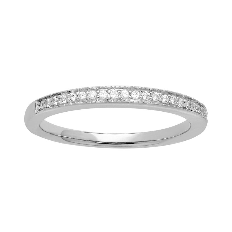 Emotions Sterling Silver Wedding Band - Made with Swarovski Zirconia
