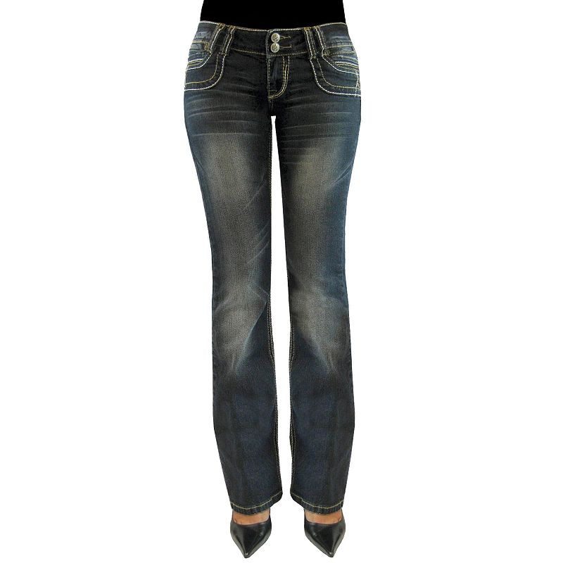 Juniors' Angels 2-Button Bootcut Jeans