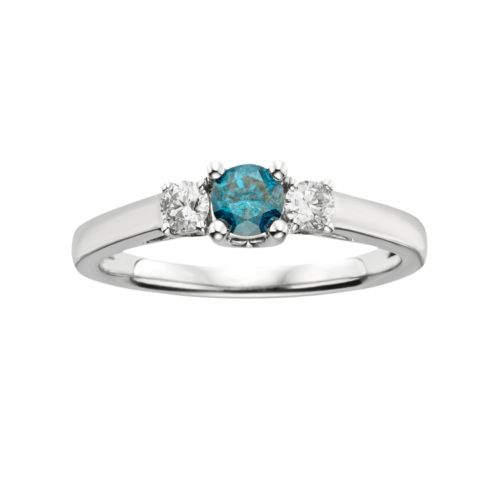 10k White Gold 1/2-ct. T.W. Blue and White Round-Cut Diamond 3-Stone Ring