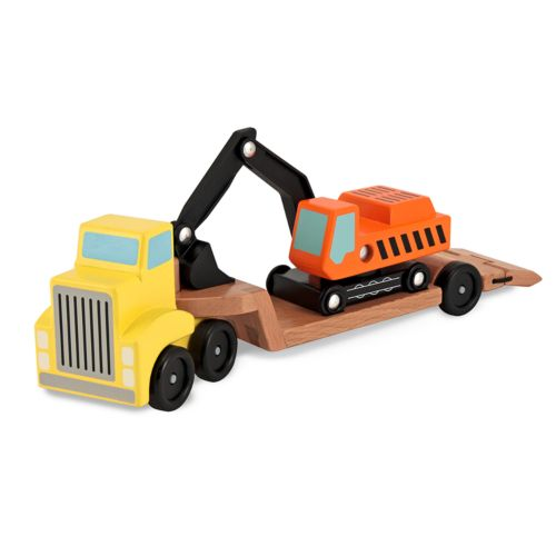 Melissa and Doug Trailer and Excavator Wooden Play Set
