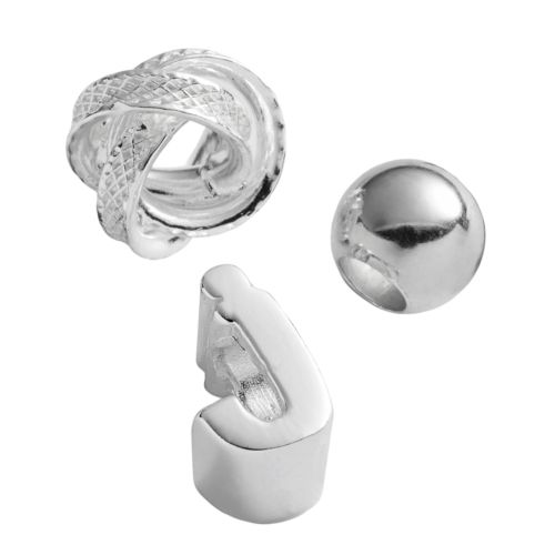 Individuality Beads Sterling Silver Initial, Knot and Spacer Bead Set