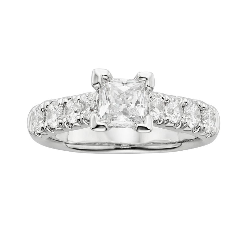 Princess-Cut IGL Certified Diamond Engagement Ring in 14k White Gold (2 ct. T.W.)