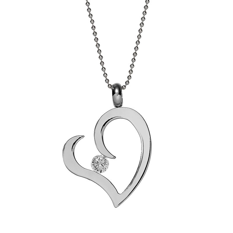 Steel City Stainless Steel Cubic Zirconia Heart Pendant