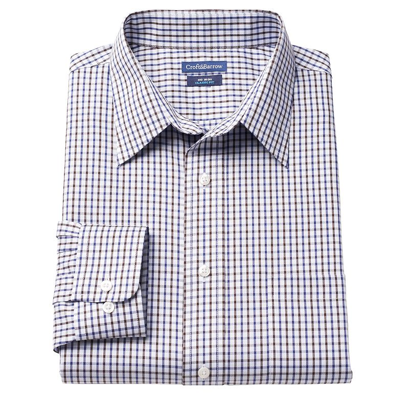 Men's Croft & Barrow Classic-Fit Checkered No-Iron Dress Shirt