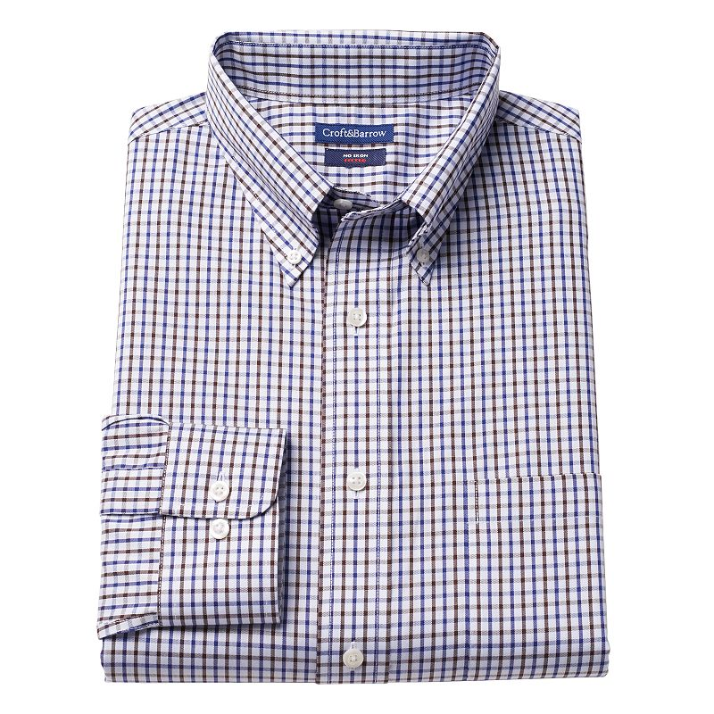 Men's Croft & Barrow Fitted Checkered No-Iron Dress Shirt