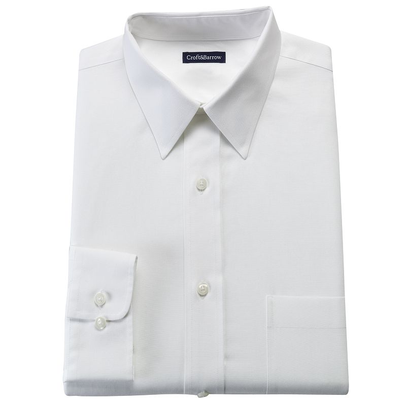 Men's Croft & Barrow® Fitted Solid No Iron Point Collar Dress Shirt