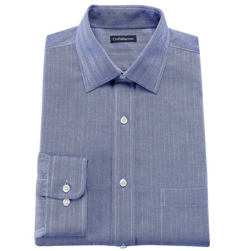 Croft barrow fitted herringbone spread collar no iron for No iron shirts mens