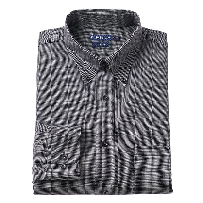 Men 39 s croft barrow slim fit no iron button down collar for Mens no iron dress shirts