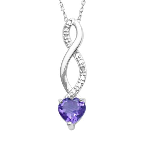 Sterling Silver Amethyst and Diamond Accent Infinity Heart Pendant