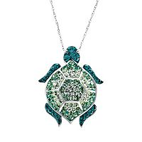 Artistique Sterling Silver Crystal Turtle Pendant - Made with Swarovski Crystals