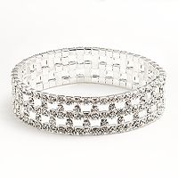 Franco Gia Silver Tone Simulated Crystal Stretch Bracelet