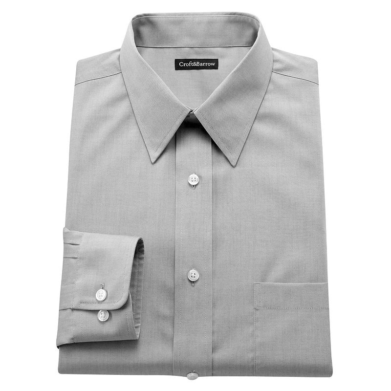 Men's Croft & Barrow® Slim-Fit Solid Easy-Care Point-Collar Dress Shirt
