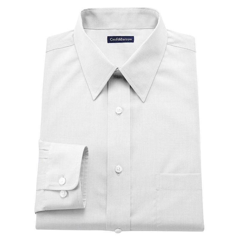 Men's Croft & Barrow® Slim-Fit Solid Easy-Care Point-Collar Dress Shirt