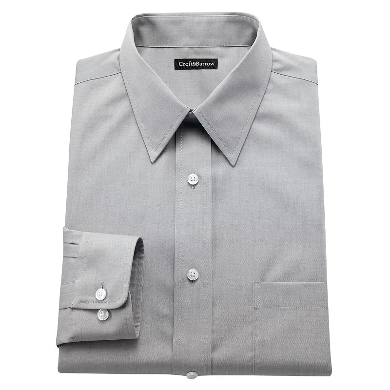 Men's Croft & Barrow® Fitted Solid Easy-Care Point-Collar Dress Shirt