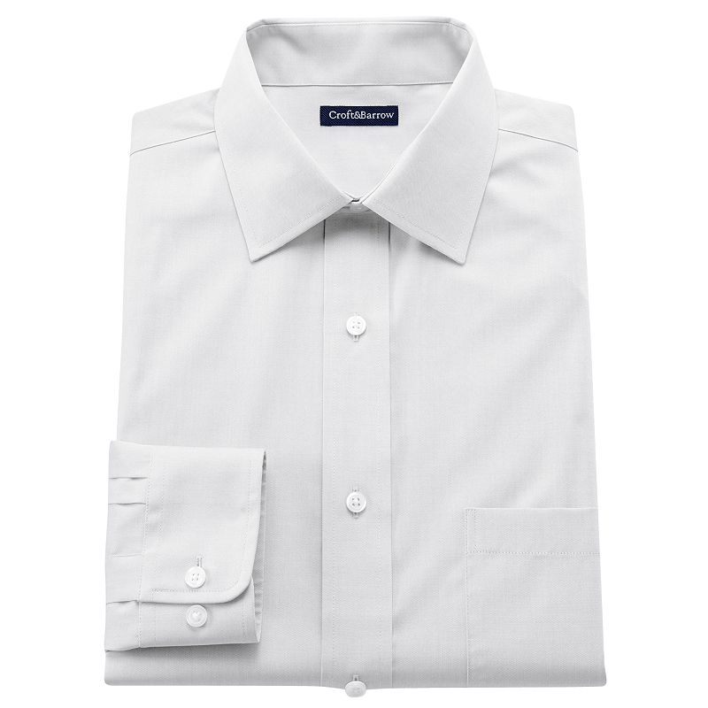 Men's Croft & Barrow® Fitted Solid Easy-Care Spread-Collar Dress Shirt