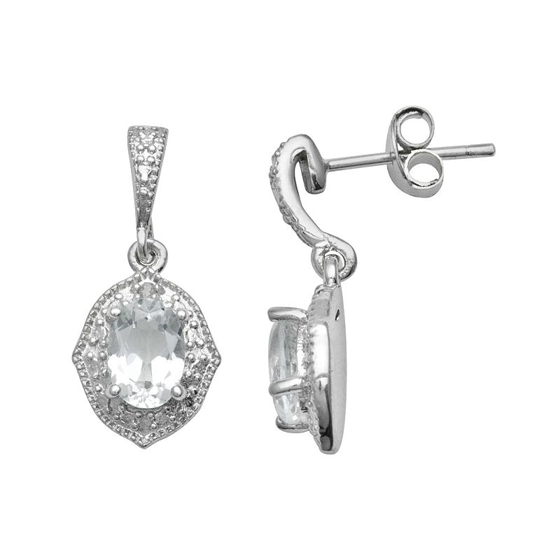 Sterling Silver White Topaz Diamond Accent Drop Earrings