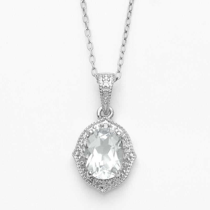 Sterling Silver White Topaz Diamond Accent Pendant