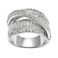 Sterling Silver 1-ct. T.W. Diamond Crisscross Ring
