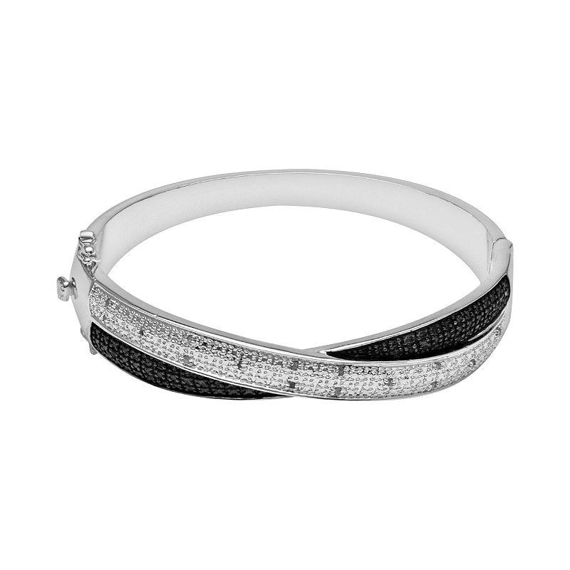 Silver Plate 1/4-ct. T.W. Black and White Diamond Bangle Bracelet