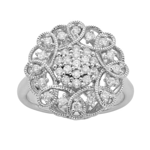 Simply Vera Vera Wang Sterling Silver 1/2-ct. T.W. Diamond Flower Ring