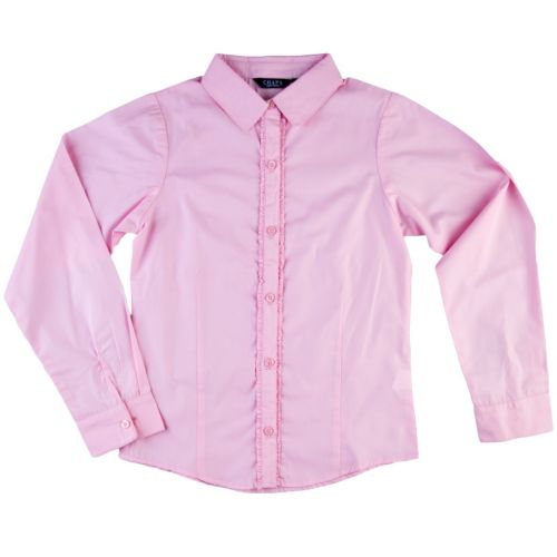 Girls 7-16 Chaps Ruffled Woven School Uniform Shirt