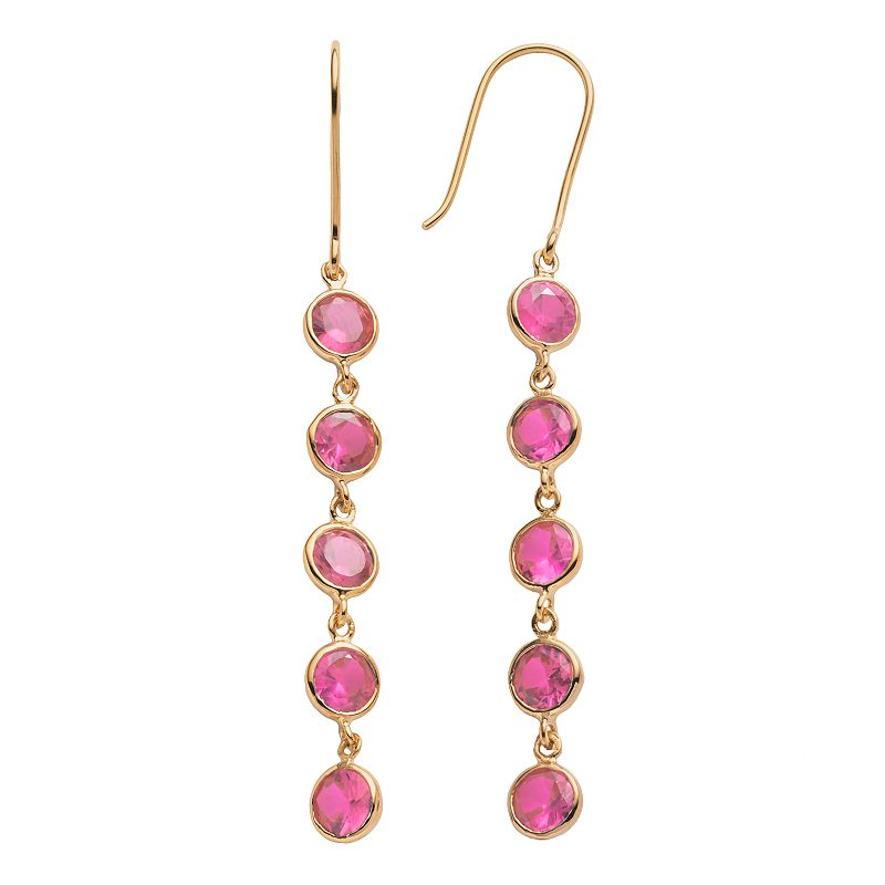 14k Gold Over Silver Lab-Created Pink Sapphire Linear Drop Earrings