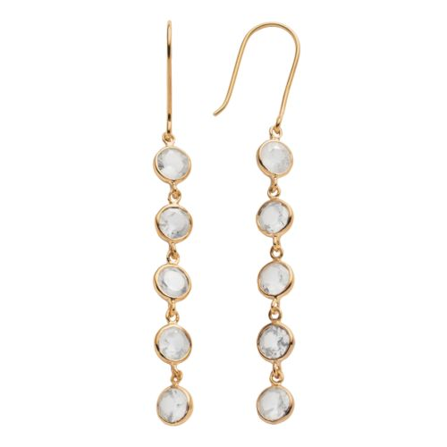 14k Gold Over Silver Lab-Created White Sapphire Linear Drop Earrings