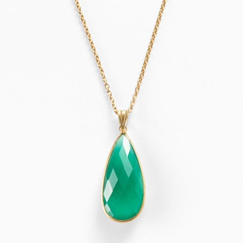 14k Gold Over Silver Green Onyx Teardrop Pendant