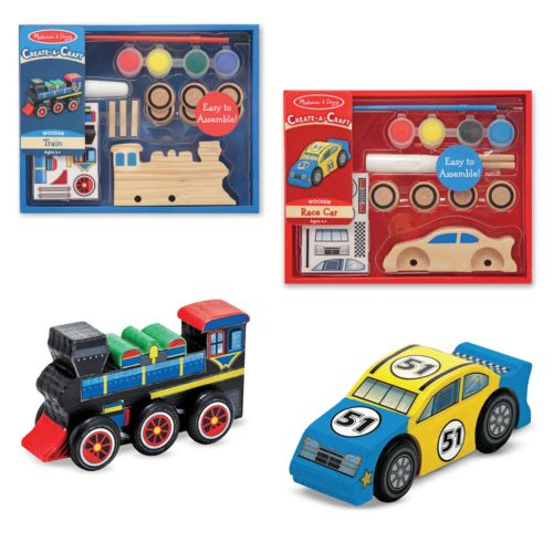 Melissa and Doug Create-A-Craft Race Car and Train Bundle