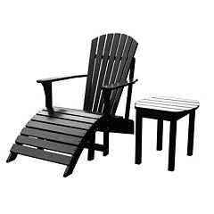 3-pc. Adirondack Lounge Chair, Footrest & Table by