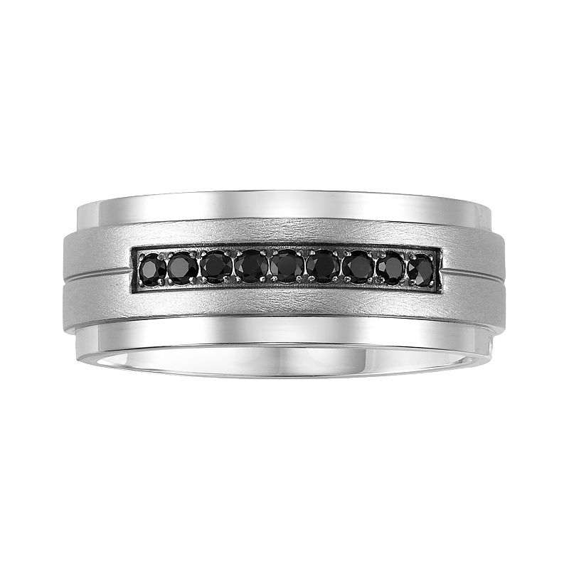 Cherish Always Stainless Steel 1/5-ct. T.W. Black Diamond Wedding Ring - Men