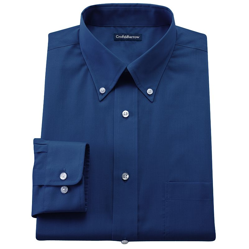 Men's Croft & Barrow® Classic-Fit Solid Broadcloth Button-Down Collar Dress Shirt