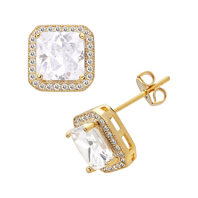 14k Gold Over Silver Plate Cubic Zirconia Square Frame Stud Earrings