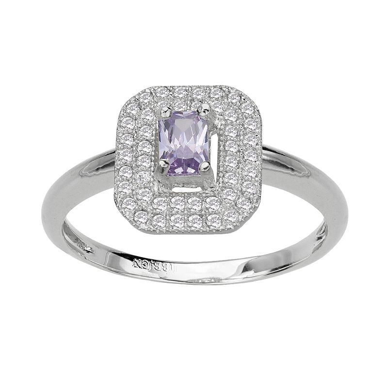 Silver Plate Lavender and White Cubic Zirconia Rectangle Frame Ring