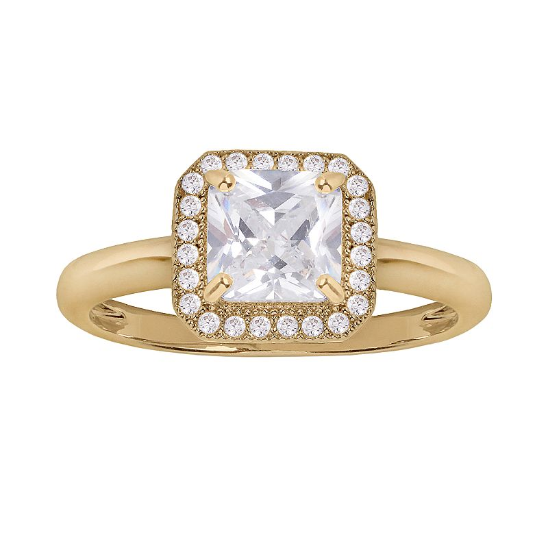 14k Gold Over Silver Plate Cubic Zirconia Square Frame Ring