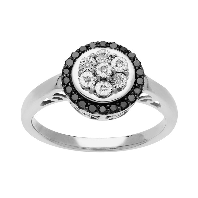 Sterling Silver 1/5-ct. T.W. Black and White Diamond Circle Filigree Ring