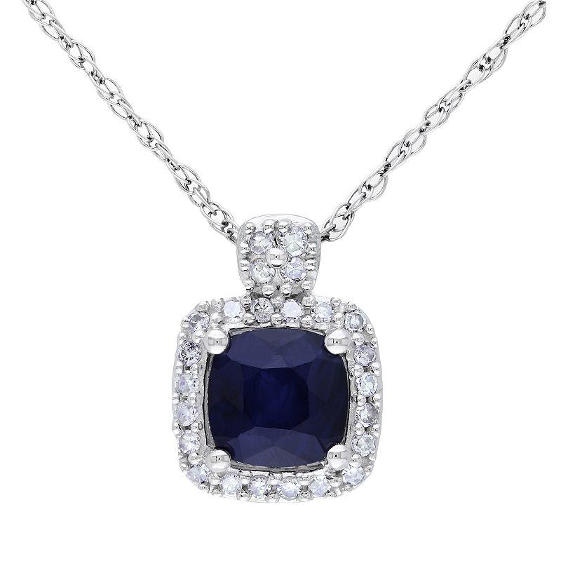 10k White Gold 1/10-ct. T.W. Diamond and Sapphire Pendant